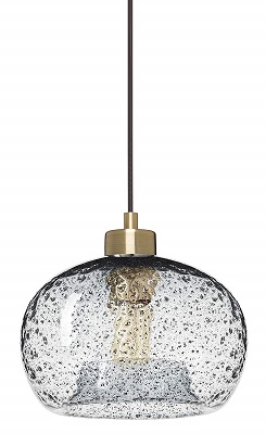 CASAMOTION Pendant Light Handblown Glass Drop Ceiling Lights, Rustic Hanging Light Seeded Clear Glass with Black Sand Powder, Brushed Brass Finish