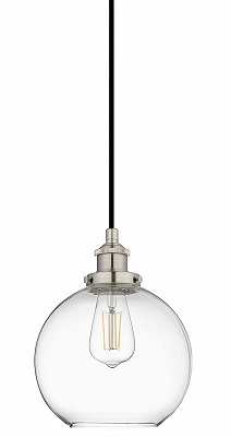 Primo LED Industrial Kitchen Pendant Light - Brushed Nickel Hanging Fixture - Linea di Liara LL-P429-LED-BN
