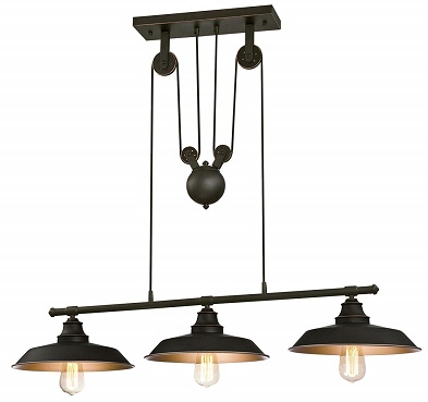 Westinghouse Lighting 6332500 Iron Hill Three-Light Indoor Island Pulley Pendant