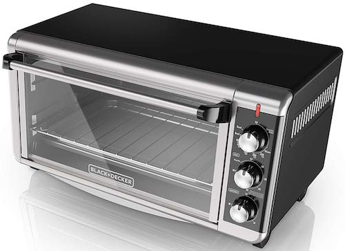 BLACK+DECKER TO3250XSB 8-Slice Extra Wide Convection Countertop Toaster Oven, Includes Bake Pan, Broil Rack & Toasting Rack, Stainless Steel:Black