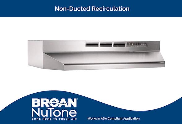 Broan 413004 Stainless Steel Ductless Range Hood Insert with Light Exhaust Fan Under Cabinet 30-Inches