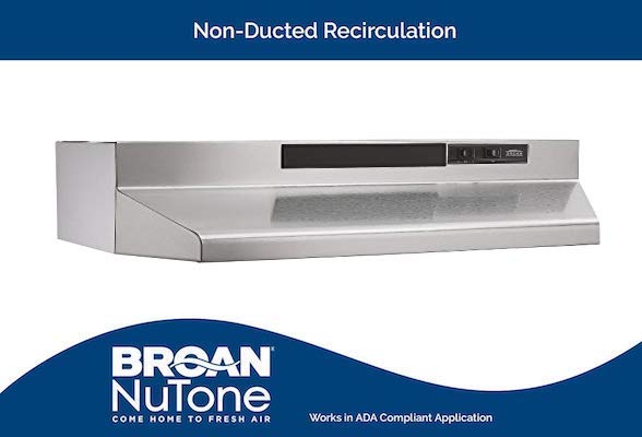 Broan-NuTone 403004 Convertible Range Hood Insert with Light, Exhaust Fan for Under Cabinet, 30, Stainless Steel, 6.5 Sones, 160 CFM
