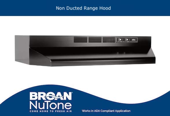 Broan-NuTone 413023 ADA Capable Non-Ducted Under-Cabinet Range Hood, 30-Inch, Black color