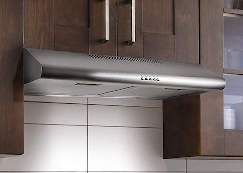 Cosmo 5MU30 30-in Under-Cabinet Range Hood 200-CFM | Ducted: Ductless Convertible Top: Rear Duct, Slim Kitchen Stove Vent with LED Light, 3 Speed Exhaust Fan, Reusable Filter ( Stainless Steel )