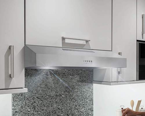 Cosmo 5U30 30-in Under-Cabinet Range Hood 250-CFM with Ducted: Ductless Convertible Top: Back Duct, Slim Kitchen Over Stove Vent LED Light, 3 Speed Exhaust Fan, Reusable Filter (Stainless Steel)