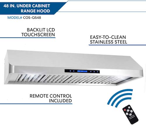 Cosmo QS48 48-in Under-Cabinet Range Hood 1000-CFM with Ducted:Ductless Convertible Duct, Wireless Remote, Kitchen Stove Vent Light, 4 Speed Exhaust, Fan Timer, Permanent Filter (Stainless Steel)