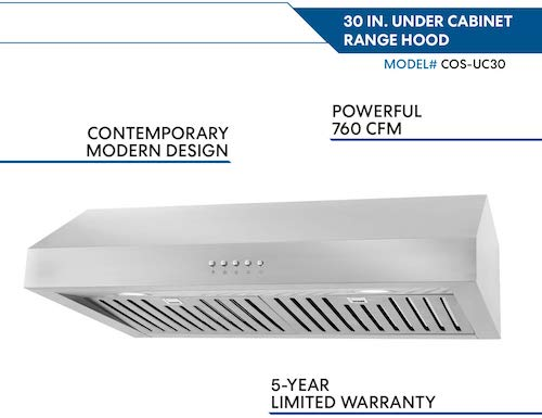 Cosmo UC30 30-in Under-Cabinet Range Hood 760-CFM with Ducted : Ductless Convertible Duct , Kitchen Over Stove Vent Light , 3 Speed Exhaust Fan , Dishwasher-Safe Permanent Filter ( Stainless Steel )