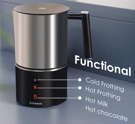 JIMHOMNI Detachable Milk Frother,Eletric Milk Steamer Foam Maker for Latte,Cappuccino,Chocolate,Macciato,Automatic Milk Frother and Heater w:Hot Cold Functionality(Silver Black)