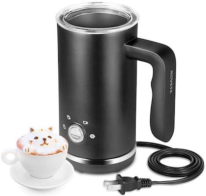 Milk Frother, Electric Milk Frother and Steamer, Large Capacity 4 in 1 Automatic Foam Maker for Hot & Cold Milk Foam, Stainless Steel Coffee Frother for Cappuccino, Latte, Hot Chocolate, 120 V