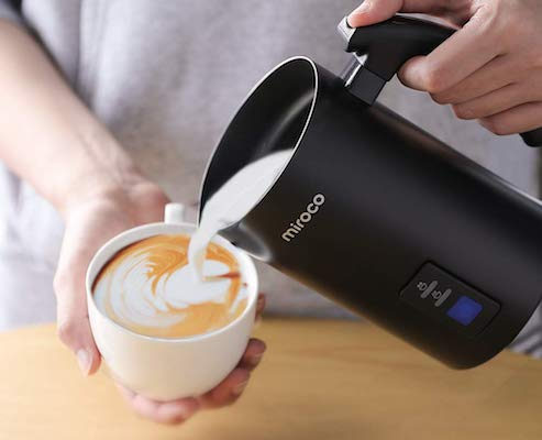 Milk Frother, Miroco Stainless Steel Milk Steamer with Hot &Cold Milk Functionality, Automatic Foam Maker For Coffee, Hot Chocolates, Latte, Cappuccino, Electric Milk Warmer, Silent Operation, 120V