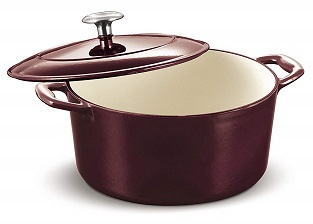 Tramontina 80131-037DS Enameled Cast Iron Covered Round Dutch Oven, 5.5-Quart