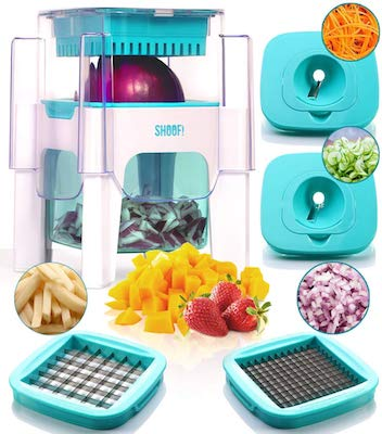 4-in-1 Vegetable Chopper for Onion, Potato, Veggie, Fruit – French Fry Cutter, Dicer, Spiralizer
