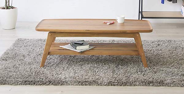 Azumaya Japan AZUMAYA Tray Edge Top Natural Acasia Wood Coffee Table NET-615 Under Rack Storage KD Furniture