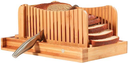 Bread Slicer Cutting Guide with Knife - Bamboo Bread Cutter for Homemade Bread, Loaf Cakes, Bagels - Foldable and Compact with Crumbs Tray and Knife