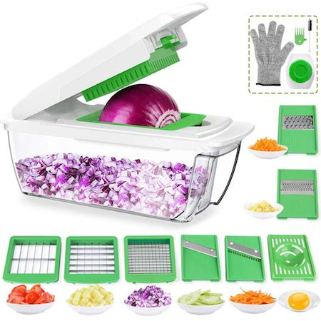 CHUGOD Vegetable Chopper Mandoline Slicer Dicer, Newly Improved Onion Cutter Heavy Duty All in One