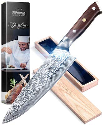 Daddy Chef Chef Knife 8 inch - Damascus Blade from Japanese 67 Layer Stainless Steel - Professional kitchen chefs chopping carving knife - Hammered Finish - Ultra Sharp - Precision Cutting