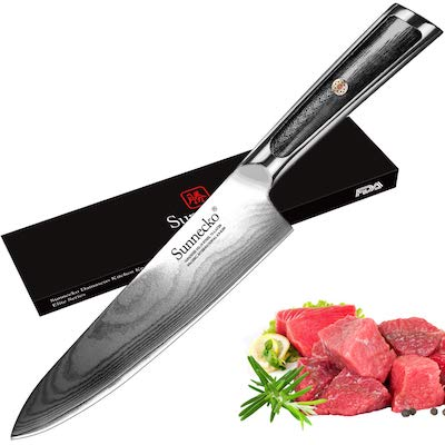 Pro Chef's Knife 8 Inch, 73-layer Damascus VG-10 Core Japanese Steel Kitchen Knife, Good Grip Ultra Sharp Gyutou Knife, from SUNNECKO Elite Series