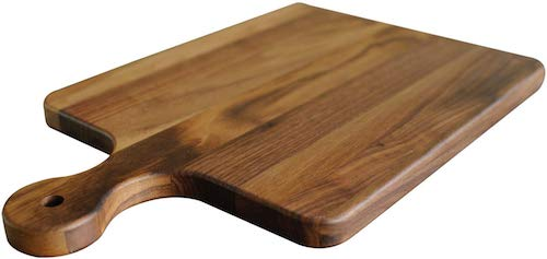 Walnut Wood Cutting Board with Handle by Virginia Boys Kitchens - 10x16 American Hardwood Chopping and Serving Rustic Paddle