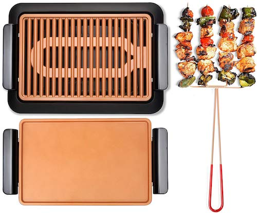 GOTHAM STEEL Smokeless Electric Grill, Griddle and Pitchfork, Indoor BBQ