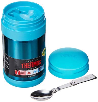 Thermos Stainless Steel 16 Ounce Vacuum Insulated Food Jar with Folding Spoon, Blue