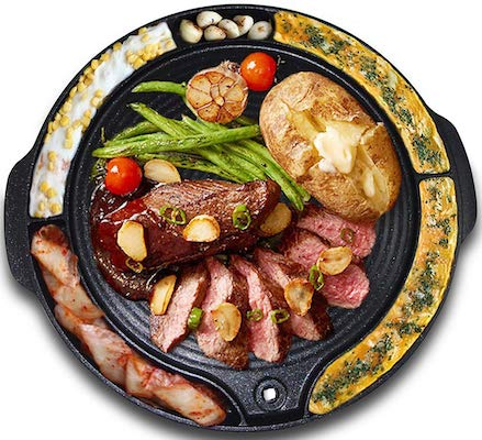 Tomoroo Korean BBQ Grill Pan | Non Stick Stovetop Plate with Multiple Food Compartments & Drain