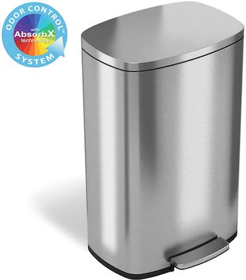 iTouchless SoftStep 13.2 Gallon Stainless Steel Step Trash Can with Odor Control System