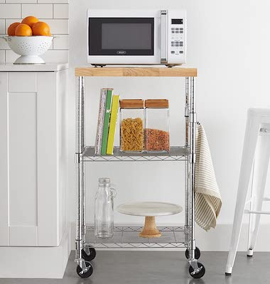 Amazon Basics Kitchen Rolling Microwave Cart Storage Rack