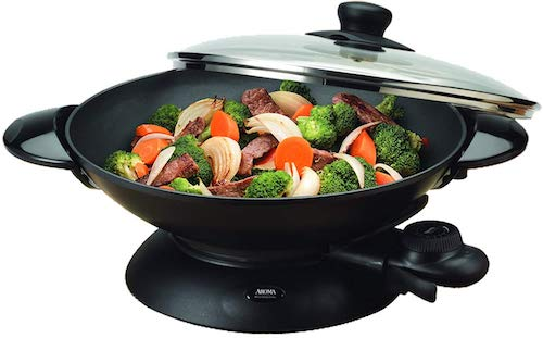 Aroma Housewares AEW-306 5-Quart Electric Wok with Tempered Glass Lid