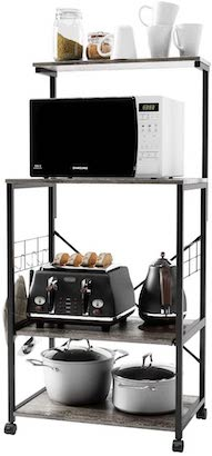 BESTIER Microwave Cart with Open Shelf Storage