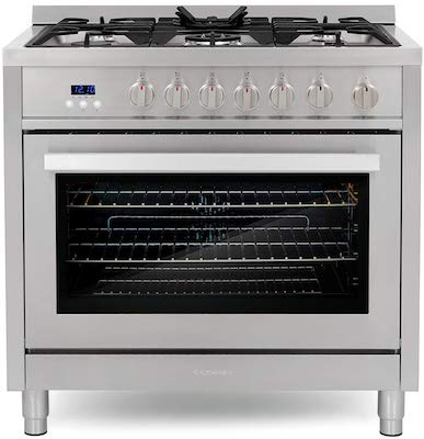 Cosmo COS-965AGFC 36 in. 3.8 cu. ft. Single Oven Gas Range with 5 Burner