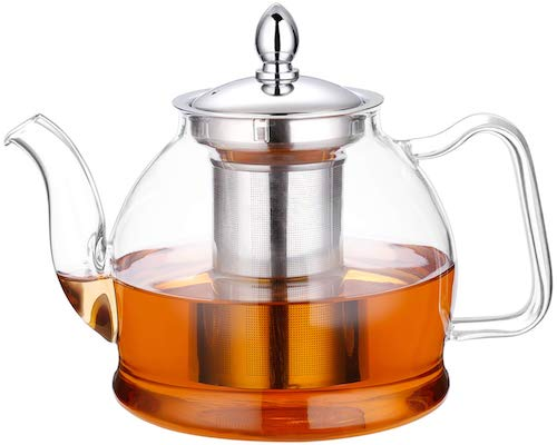 Hiware 1000ml Glass Teapot with Removable Infuser, Stovetop Safe Tea Kettle