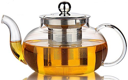 Hiware Good Glass Teapot Stovetop Safe with Removable Stainless Steel Lid & Infuser