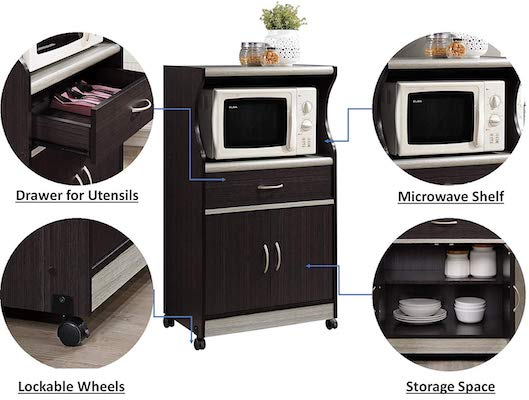 Hodedah Microwave Storage Cart