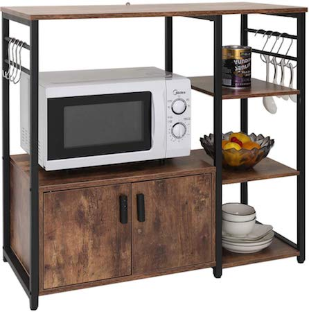 Iwell Kitchen Baker's Rack with 1 Cabinet and 8 Hooks, 4-Tiers Kitchen Storage Cart Table