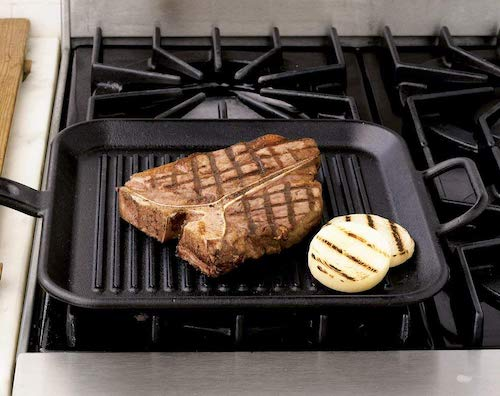 Lodge 12 Inch Square Cast Iron Grill Pan for Steak