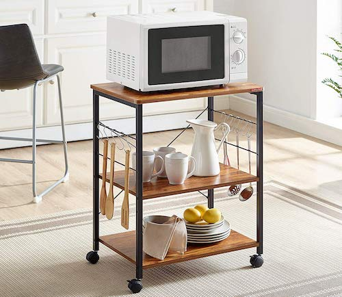 Mr IRONSTONE Kitchen Microwave Cart 3-Tier Kitchen Utility Cart Vintage Rolling Bakers Rack