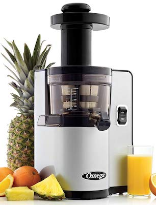 Omega VSJ843QS Vertical Slow Masticating Juicer Makes Continuous Fresh Fruit and Vegetable Juice