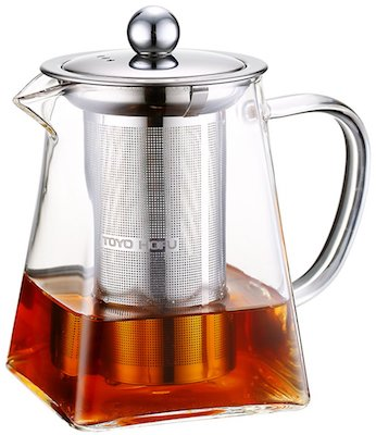 TOYO HOFU Clear Glass Teapot Stovetop Safe with Infusers for Loose Tea