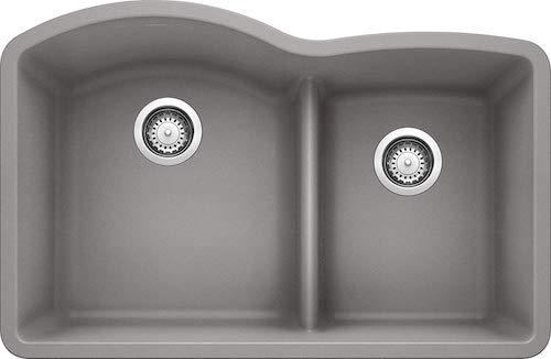 BLANCO 441592 DIAMOND SILGRANIT Double Bowl Undermount Kitchen Sink with Low Divide