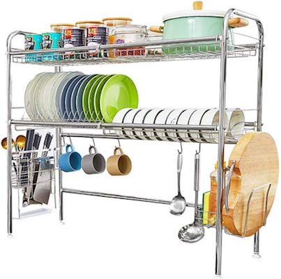 HEOMU Over The Sink Dish Drying Rack 2-Tier Dish Drainers