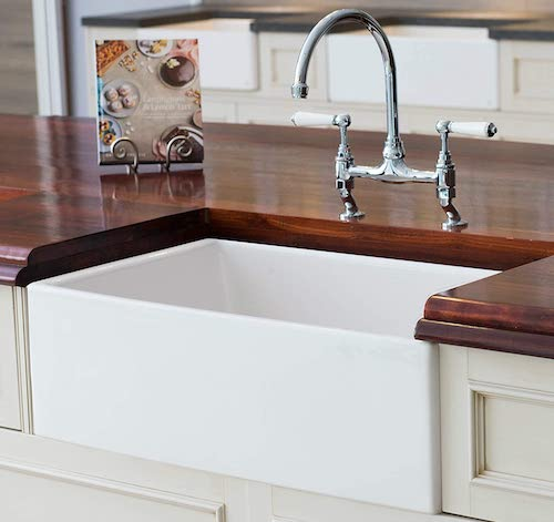 Mayfair SW1 30 Inch White Fireclay Kitchen Farmhouse Sink