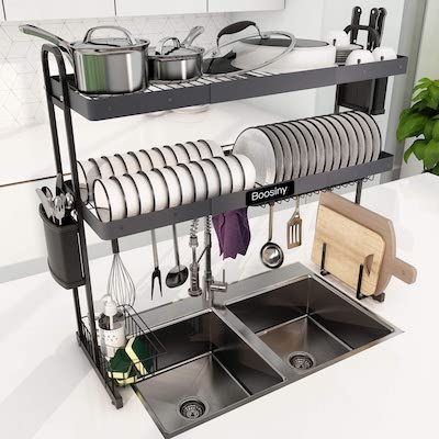 Over Sink Dish Drying Rack, Boosiny 2 Tier Stainless Steel
