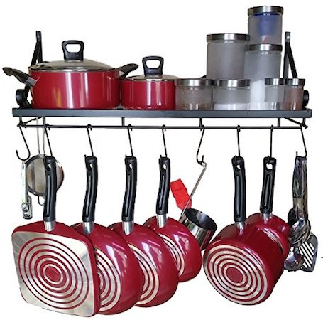 Premium Presents Wall Mounted Pots and Pans Rack. Pot Holders Wall Shelves