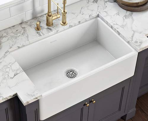 Ruvati Fireclay Reversible Farmhouse Apron-Front Kitchen Sink Single Bowl