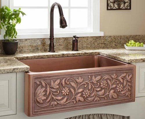 Signature Hardware Farmhouse Single Basin Copper Kitchen Sink