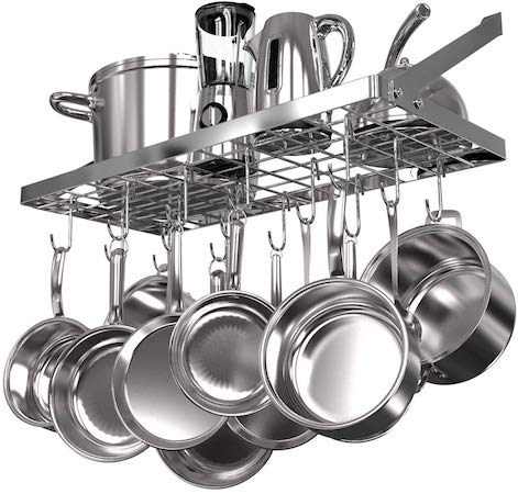 Vdomus Square Grid Wall Mount Pot Rack, Kitchen Cookware Hanging Organizer with 15 Hooks