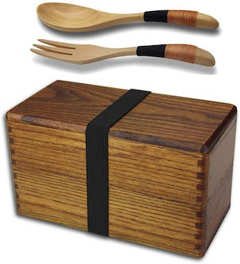 Japanese Traditional Natural Square Wooden Lunch Containers