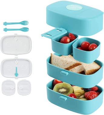 Leak Proof PA-Free Stacking Bento Box Lunch Box with 4 Microwave-Safe