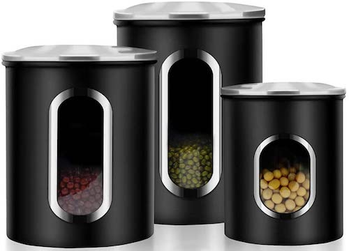 3 Piece Window Kitchen Canister with Fingerprint Resistance Lids