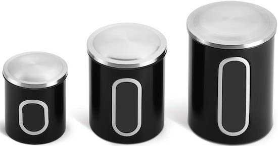 Fortune Candy Stainless Steel Canister Sets with Anti-Fingerprint Lid black